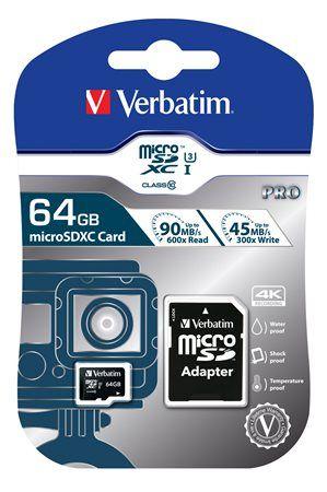 Memóriakártya, microSDXC, 64GB, CL10/U3, 90/45 MB/s, adapter, VERBATIM