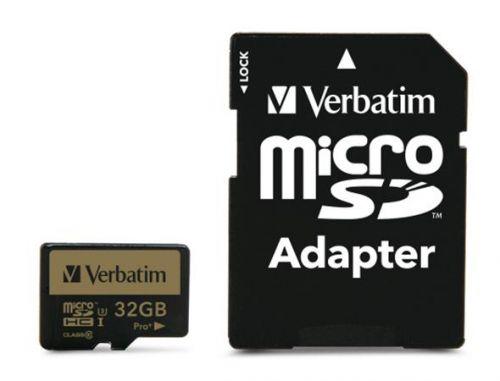 Memóriakártya, microSDHC, 32GB, CL10/U3, 90/80 MB/s, adapter, VERBATIM
