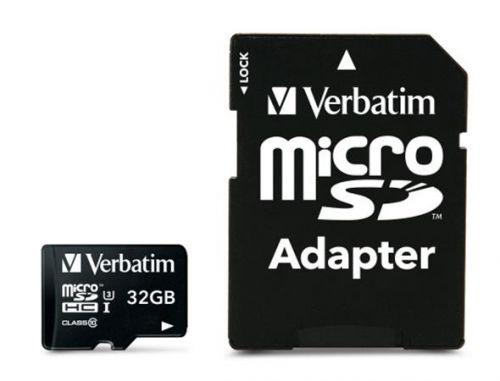 Memóriakártya, microSDHC, 32GB, CL10/U3, 90/45 MB/s, adapter, VERBATIM