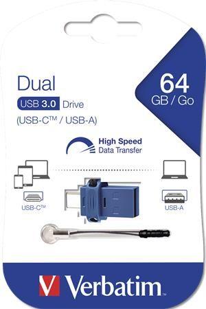Pendrive, 64GB, USB 3.0+USB-C adapter, VERBATIM,