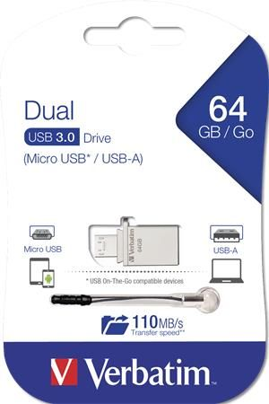 Pendrive, 64GB, USB 3.0+micro USB adapter, táblagéphez, VERBATIM