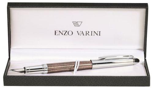 Töltőtoll, M, barna tolltest, krómszínű klip, ENZO VARINI,