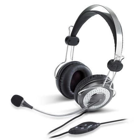 Fejhallgató, mikrofon, hangerőszabályzóval, GENIUS