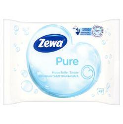 Toalettpapír, nedves, 42db, ZEWA, pure