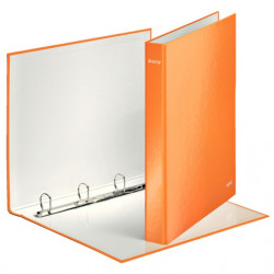 Gyűrűs dosszié, 4 gyűrű, 40 mm, A4, karton, lakkfényű, LEITZ, narancs