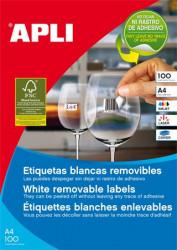 Etikett, univerzális, 48,5x25,4 mm, eltávolítható, kerekített sarkú, APLI, 4400 etikett/csomag (03054)