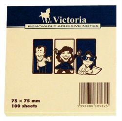 Öntapadó jegyzettömb, 75x75 mm, 100 lap, VICTORIA,