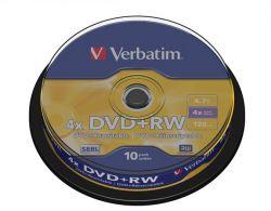 DVD+RW lemez, újraírható, 4,7GB, 4x, hengeren, VERBATIM