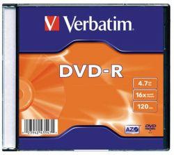DVD-R lemez, AZO, 4,7GB, 16x, vékony tok, VERBATIM