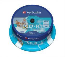 CD-R lemez, nyomtatható, , ID, 700MB, 52x, hengeren, VERBATIM