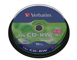 CD-RW lemez, újraírható, 700MB, 8-10x, hengeren VERBATIM