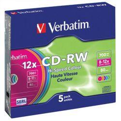 CD-RW lemez, újraírható,  felület, 700MB, 8-10x, vékony tok, VERBATIM