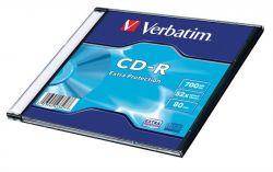 CD-R lemez, 700MB, 52x, vékony tok, VERBATIM