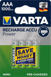 Tölthető elem, AAA mikro, 4x1000 mAh, előtöltött (Power)