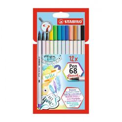 Ecsetfilc STABILO Pen 68 Brush 12 db-os készlet
