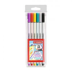 Ecsetfilc STABILO Pen 68 Brush 6 db-os készlet