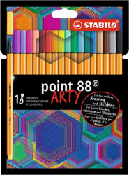 (1199) Tűfilc készlet, 0,4 mm, STABILO Point 88 ARTY, 18 különböző szín