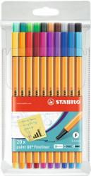 (1199) Tűfilc készlet, 0,4 mm, STABILO Point 88 Big Point, 20 különböző szín