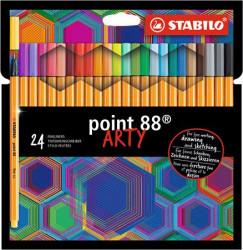 (1199) Tűfilc készlet, 0,4 mm, STABILO Point 88 ARTY, 24 különböző szín