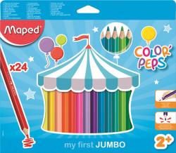 (1060) Színes ceruza készlet, háromszögletű, vastag, MAPED Jumbo, 24 különböző szín
