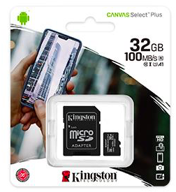 32GB microSDHC Kingston Canvas Select Plus CL10 memóriakártya + adapter