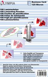 Meleglamináló fólia, névjegykártya méret, 125 mikron, 100 db